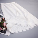 skirt Summer 2020 45CM,55CM,65CM,75CM milky white fresh A-line skirt Solid color Type A other cotton Cut out, embroidery, lace