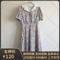 Dress Summer 2021 blue S155,M160,L165 Mid length dress singleton  Short sleeve commute High waist Broken flowers Socket A-line skirt routine Type A 'Seifini / Shi Fanli Korean version 1c4991101 More than 95% other