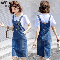 Dress Summer 2020 Blue strap skirt + white T-shirt blue strap skirt piece S M L XL 2XL Mid length dress Two piece set Short sleeve commute Crew neck High waist Solid color Socket other routine straps 18-24 years old Type A Weiai Zi Korean version Hand worn pocket strap button with holes SD1F01A16530