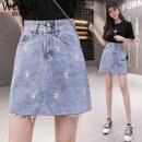 skirt Summer 2020 S M L XL blue Short skirt commute High waist A-line skirt Broken flowers 18-24 years old 5228# More than 95% Weiai Zi other Embroidered pocket Other 100%