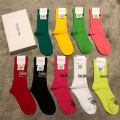 Socks / base socks / silk socks / leg socks lovers DKN Average size 1 pair routine Middle cylinder Four seasons Simplicity letter cotton Leg shaping pinkycolor  Common crotch