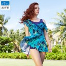one piece  Water cube M,L,XL,XXL Blue red, blue green Skirt one piece With chest pad without steel support Nylon, spandex 1811602slf male Short sleeve Casual swimsuit
