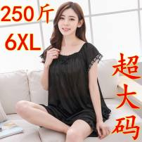 Pajamas / housewear set female Other / other One size fits all (80-120 kg), extra large (120-155 kg), 3XL (165-175 kg), 4XL (175-205 kg), 5XL (205-220 kg), 6xl (220-250 kg) Iced silk camisole luxurious Leisure home summer shorts youth 2 pieces rubber string Lace fabric I83332