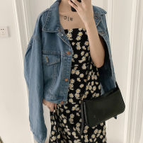 Dress Summer 2020 Black T half length short skirt half length fishtail skirt suspender short skirt suspender long skirt M L XL Short skirt singleton  Sleeveless Sweet Crew neck High waist Broken flowers zipper Princess Dress routine camisole 18-24 years old Luring famous products Lotus leaf edge