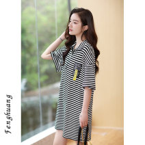 Dress Summer 2021 Black and white stripes S M L Mid length dress singleton  Short sleeve commute Polo collar Loose waist stripe Socket other routine Others 18-24 years old Feng Huang Simplicity Sticking cloth FH4190 More than 95% other other Other 100% Pure e-commerce (online only)