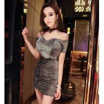 Dress / evening wear Wedding ceremony Short skirt Short buttocks Bright silk cloth Sleeveless High waist sexy One shoulder Hollowing out Solid color One size fits all Grey, green, red, black, pink