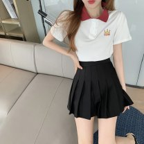 Fashion suit Summer 2021 S M L XL White T-shirt + Black Pleated Skirt Pink T-Shirt 18-25 years old Dieyutong Other 100% Pure e-commerce (online only)