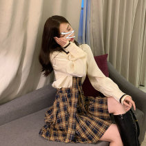 Women's large Spring 2021 Shirt + plaid skirt shirt plaid skirt S M L XL skirt Two piece set Tong Mengni 18-24 years old Other 100% Exclusive payment of tmall