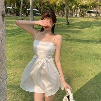 Dress Summer 2021 White black S M L Short skirt singleton  Sleeveless commute High waist zipper A-line skirt camisole 18-24 years old Dongmeifu Diamond on the back jrjj9171 More than 95% other Other 100% Pure e-commerce (online only)