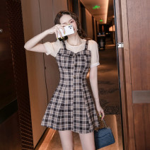 Dress Summer 2021 Picture color S M L XL 2XL Short skirt Fake two pieces Short sleeve commute Crew neck High waist zipper A-line skirt puff sleeve Others 18-24 years old Dongmeifu Splicing nryjh0969 More than 95% other Other 100% Pure e-commerce (online only)