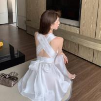 Dress Summer 2021 white S M L Short skirt singleton  Sleeveless commute V-neck High waist Socket A-line skirt Others 18-24 years old Dongmeifu Open back bandage nryhj1949 More than 95% other Other 100% Pure e-commerce (online only)