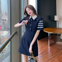 Dress Summer 2021 Grey blue S M L XL Short skirt singleton  Short sleeve commute Polo collar High waist zipper A-line skirt Others 18-24 years old Dongmeifu nmty3033 More than 95% other Other 100% Pure e-commerce (online only)