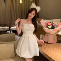Dress Summer 2021 white S M L Short skirt singleton  Sleeveless commute One word collar High waist Socket A-line skirt Hanging neck style 18-24 years old Dongmeifu Open back bandage nthkjr9593 More than 95% other Other 100% Pure e-commerce (online only)