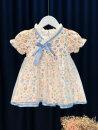 Dress blue female Fitzka 80cm 90cm 100cm 110cm 120cm summer ethnic style Short sleeve Broken flowers blending A-line skirt Summer 2021 12 months 18 months 2 years 3 years 4 years 5 years old