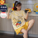 Pajamas / housewear set female Chen CAI cotton Short sleeve Sweet Leisure home summer Thin money Crew neck Cartoon animation shorts Socket 2 pieces rubber string More than 95% pure cotton printing Other 100% Spring 2021 Other 100%