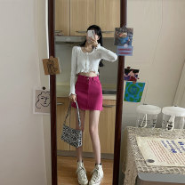 skirt Spring 2021 S M Auricular edge knitted shirt denim skirt auricular edge knitted shirt + denim skirt Short skirt commute High waist A-line skirt Solid color 25-29 years old 0308-811 81% (inclusive) - 90% (inclusive) Mai Xiayuan polyester fiber Button Polyester 85% other 15%