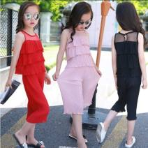 suit Other / other Chiffon suit pink, chiffon suit red, chiffon pants suit black female Korean version Two piece set 2 pieces 3 years old