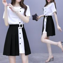 Dress Summer 2020 Black, Tan S-80-95, m-96-105, l-105-115, xl-116-125, 2xl-126-140, 3xl-141-155, 4xl-156-180 Short skirt Two piece set Short sleeve commute Slant collar High waist Solid color Single breasted A-line skirt routine Others 18-24 years old Type A Korean version JBEBHt346346s other other