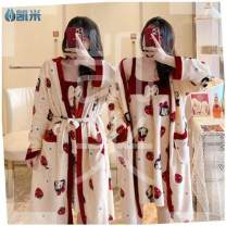 Nightdress Other / other M (75-95kg), XL (115-135kg), l (95-115kg) Sweet Long sleeves Leisure home Middle-skirt winter Plants and flowers youth Crew neck printing Flannel