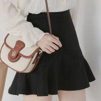 skirt Spring 2021 XS,S,M,L,XL,2XL,3XL Black belt safety pants Short skirt High waist Ruffle Skirt Ruffle, zipper, solid