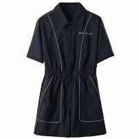 Dress Autumn 2020 black S,M,L,XL Middle-skirt singleton  Short sleeve commute square neck High waist Solid color Socket other routine Others Type H Peace / peacebird Korean version A2FBA325289 More than 95% polyester fiber