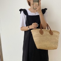 Dress Summer 2020 black S M L Mid length dress singleton  Sleeveless commute One word collar High waist Solid color Socket Big swing other camisole 18-24 years old Type H Qian Rongchen Korean version Pleated Auricularia button 51% (inclusive) - 70% (inclusive) polyester fiber