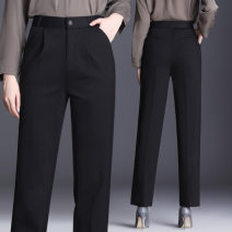 Casual pants 1868 black XL 4XL 5XL L M 7XL XXL XXXL 9XL Autumn of 2019 trousers Straight pants low-waisted Other styles 35-39 years old 51% (inclusive) - 70% (inclusive) Pro Yang nylon fold PU
