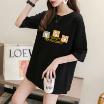 T-shirt M,L,XL,2XL,3XL Summer 2021 Long sleeves Crew neck easy routine commute cotton 96% and above Korean version originality Cartoon animation printing