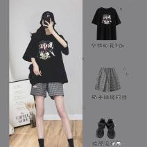 Women's large Summer 2021 Jacket [early spring / summer spring and autumn 2021, fat mm Korean version] shorts [salt and sweet two piece / thin shading meat / early spring wear] jacket + shorts [port wind set women retro chic/ fashion age reduction suit] Two piece set commute easy moderate Socket