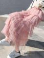 skirt Spring 2021 S,M,L longuette Sweet High waist Cake skirt Solid color Type A 18-24 years old Q polyester fiber Gauze Mori