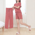 Women's large Spring 2020 Grey 3-piece set jam red 3-piece set grey 2-piece set (trousers) jam red 2-piece set (trousers) grey 2-piece set (shorts) jam red 2-piece set (shorts) grey short sleeve jam red short sleeve grey shorts jam red shorts trousers Three piece set commute moderate Cardigan lady