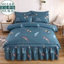 Bedding Set / four piece set / multi piece set cotton Quilting Plants and flowers 128x68 Other / other cotton 4 pieces 40 1.5m (5 ft) bed, 1.8m (6 ft) bed, 2.0m (6.6 ft) bed Bed cover type, bed skirt type, bed cover type Qualified products Simplicity Below 95% cotton Sanding Reactive Print