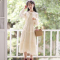Dress Autumn 2020 Apricot, white, pink, black, blue, red, apricot plush, white plush, Pink Plush, black plush, blue plush, red plush S,M,L,XL Mid length dress singleton  Long sleeves Sweet other High waist Solid color Socket other other Others 18-24 years old Type A Gauze other other Mori