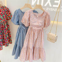Dress Pink sk2021514, blue sk2021514 female Other / other 7 for 95-100cm, 9 for 100-105cm, 11 for 105-115cm, 13 for 115-120cm, 15 for 120-130cm Other 100% summer Korean version Short sleeve flower other other SK2021514 Class B Three, four, five, six, seven, eight