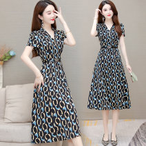 Dress commute A-line skirt Type A Summer 2021 Short sleeve longuette singleton  Design and color routine middle-waisted 35-39 years old V-neck Condom More than 95% Xuefu language polyester fiber LCMNJ21A88 printing Chiffon Other polyester 95% 5% Pure e-commerce (online sales only)