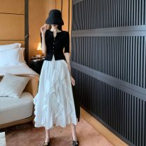 Fashion suit Summer 2020 S,M,L,XL Black top + white skirt 18-25 years old Other / other