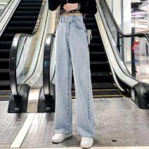 Jeans Autumn of 2019 Light blue, dark blue S,M,L,XL,2XL trousers High waist Wide legged trousers light colour Other
