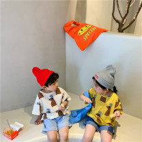 T-shirt Yellow, blue, beige Size 90 (recommended height 85cm-95cm), size 100 (recommended height 95cm-105cm), Size 110 (recommended height 105cm-115cm), Size 120 (recommended height 115cm-125cm), Size 130 (recommended height 125cm-135cm), size 140 (recommended height 135cm-140cm) Summer 2021 Regular