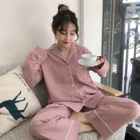 Pajamas / housewear set female Other / other Average size Red, yellow other Long sleeves Sweet pajamas autumn routine V-neck Solid color trousers juvenile 2 pieces Button 81% (inclusive) - 95% (inclusive) polyester fiber Embroidery