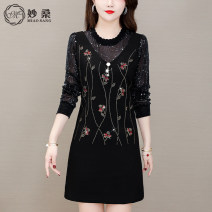 Women's large Spring 2021 Golden thread stars all over the sky M L XL 2XL 3XL 4XL 5XL Dress singleton  commute easy moderate Socket Long sleeves Decor Korean version Crew neck routine 1339-18465478 Miaoshang (clothing) 35-39 years old Medium length Other 100% Pure e-commerce (online only)