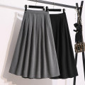 Women's large Summer 2020 Dark grey black M, l, XL, 2XL, 3XL skirt singleton  commute easy moderate Solid color Korean version Polyester cotton others Three dimensional cutting HX9088YT7 Huixia (clothing) Medium length Cotton 40% polyester 30% others 30% Pleated skirt