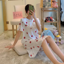 Nightdress Wangli T31 [3006] baby collar short sleeve skirt white strawberry 160(M) 165(L) 170(XL) 175(XXL) Sweet Short sleeve pajamas Middle-skirt summer Cartoon animation youth Crew neck Polyester (polyester) printing More than 95% Summer 2020 Polyester 100% Pure e-commerce (online only)