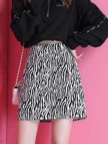 skirt Summer 2021 M,L,XL Zebra skirt, leopard skirt, 1 pair of pure white socks longuette High waist A-line skirt Leopard Print Ruffles, decorative lines, stitching