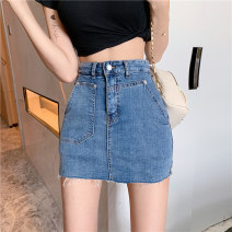 skirt Spring 2021 S M L Blue shorts Short skirt commute High waist A-line skirt Solid color Type A 18-24 years old 9797# More than 95% Denim Qian Jinghui polyester fiber pocket Korean version Polyester 100% Pure e-commerce (online only)