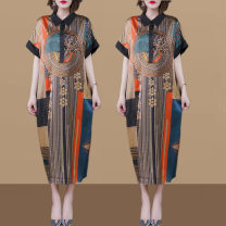 Women's large Summer 2021 Decor Large XL Large XXL large XXXL large XXXXL large Dress singleton  commute easy thin Socket Short sleeve Decor Korean version Polo collar Medium length other printing and dyeing routine WSZE201-6013 Wenshazi 40-49 years old pocket longuette Other 100% other