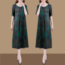 Middle aged and old women's wear Summer 2021 Decor M L XL XXL XXXL 4XL commute Dress easy singleton  Decor 40-49 years old Socket moderate Crew neck Medium length routine WSZA45-1172 Wenshazi pocket other Other 100% 96% and above Pure e-commerce (online only) longuette other Retro