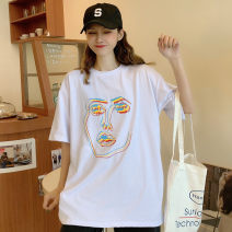 T-shirt Orange white M L XL Summer 2021 Short sleeve Crew neck easy Regular routine commute polyester fiber 51% (inclusive) - 70% (inclusive) 18-24 years old Korean version originality Cartoon animation Jingling (clothing) 2Raw6 printing Pure e-commerce (online only)