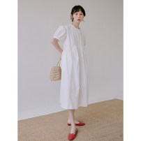 Dress Spring 2021 Black and white Average size Mid length dress singleton  Short sleeve commute Crew neck Loose waist Solid color Socket Princess Dress other Others 18-24 years old Type H Itfi (clothing) Simplicity 102CSK11393 More than 95% brocade cotton Cotton 100%
