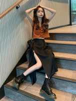 skirt Summer 2020 S. M, average size Mid length dress commute High waist Irregular Solid color Type A 18-24 years old 30% and below Ezrin other Lace up, asymmetrical Korean version
