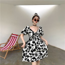 Women's large Spring 2021 Black and white S M L XL Dress singleton  commute Short sleeve Decor Korean version V-neck other routine iOom90726 Yao  18-24 years old 96% and above Middle-skirt Other 100% Pure e-commerce (online only)